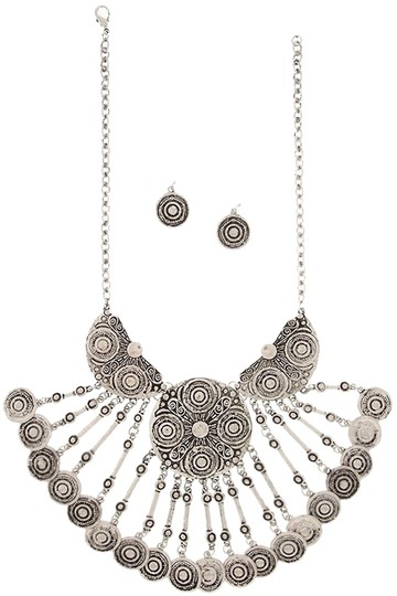 Preload https://img-static.tradesy.com/item/2340832/antique-silver-embossed-coin-chandelier-necklace-and-earrings-set-0-0-540-540.jpg