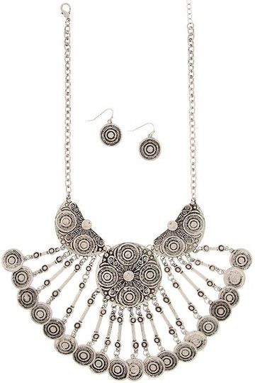 LONDON WRAP by Zena Design's Embossed Coin Chandelier Necklace & Earrings Set Image 1
