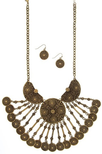 LONDON WRAP by Zena Design's Embossed Coin Chandelier Necklace & Earrings Set
