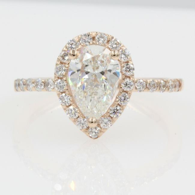 14k Rose Gold Gia Certified 1.07 Carat. Pear Shaped Halo Engagement Ring 14k Rose Gold Gia Certified 1.07 Carat. Pear Shaped Halo Engagement Ring Image 1