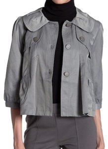 Vertigo Pleated Back 3/4 Blouson Sleeves Front Button Storm Flaps Topstitched + Lined Grey Jacket