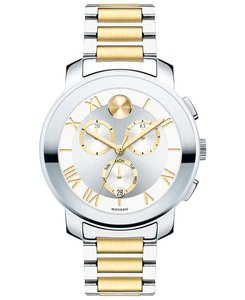 Movado Stainless Bracelet Silver Gold Dial Chronograph Bold 3600280 Watch