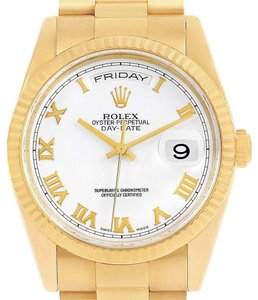 Rolex Rolex President Day Date White Dial Yellow Gold Watch 118238 Box Paper
