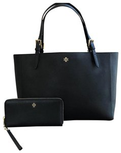 Tory Burch Leather Mother's Day 2pcs Set Gift Tote in BLACK