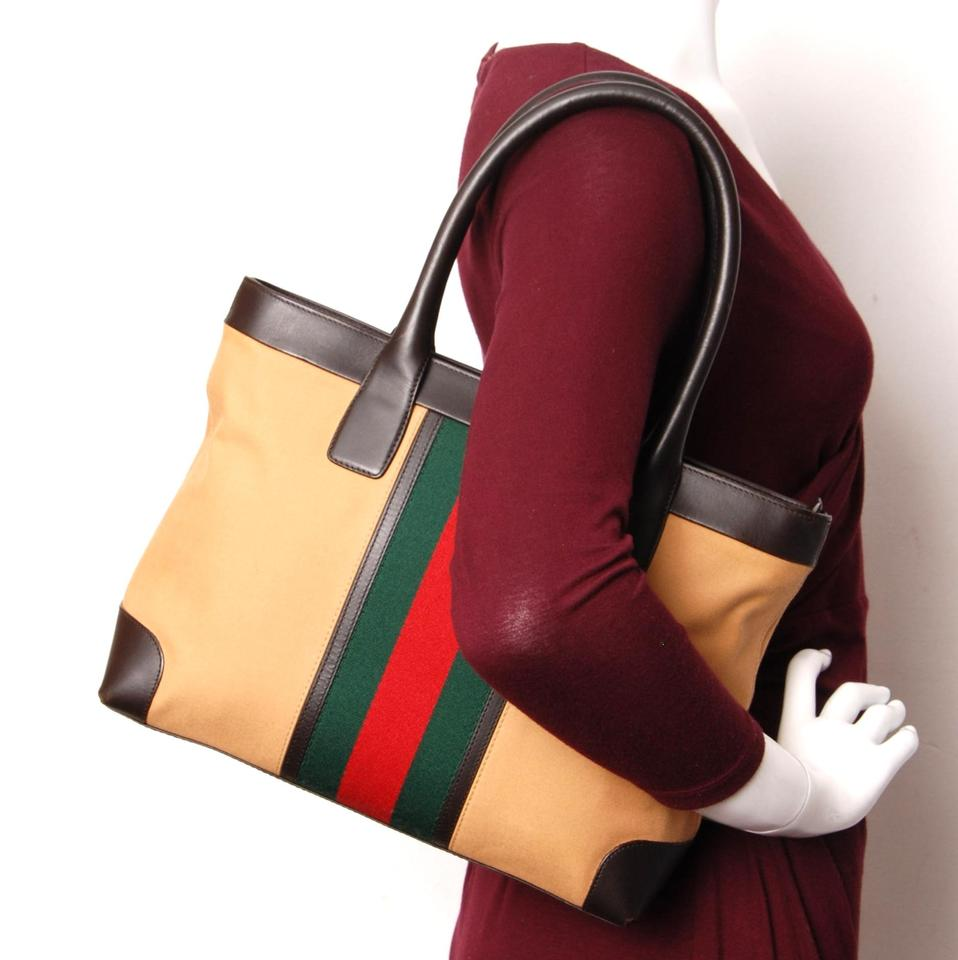 eae64a625fe1 Gucci Web Gg Canvas Leather Tote in Brown Image 11. 123456789101112