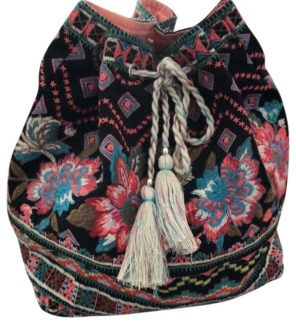 Item - Embroidered Boho Chic Multicolor Cotton Backpack