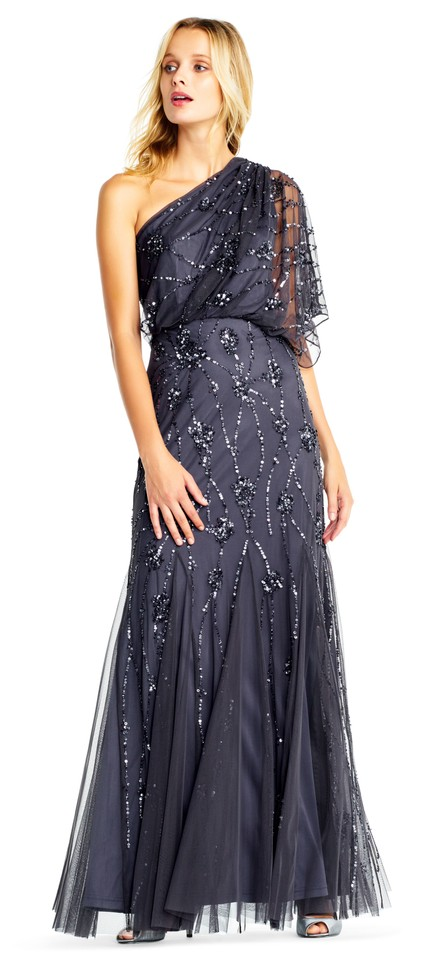 Adrianna Papell Gunmetal One Shoulder Beaded Gown Long Formal Dress ...