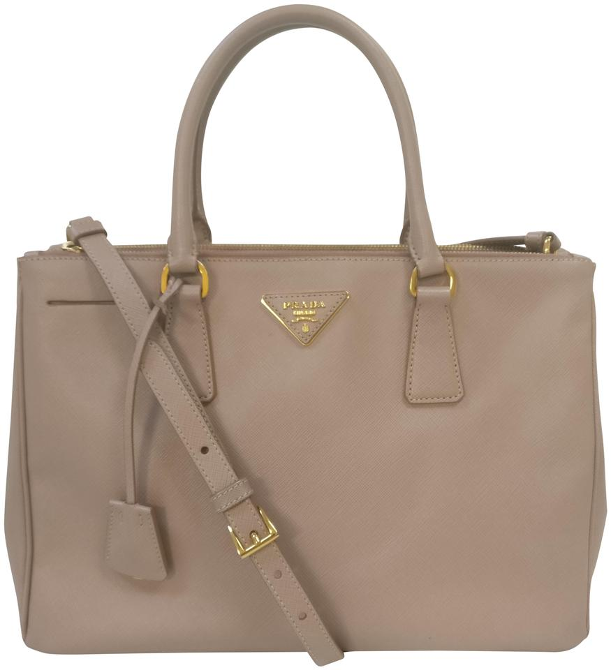 Prada Galleria Double Bn2274 Saffiano Zip Cross Body Beige Leather ... f39575b2e90da