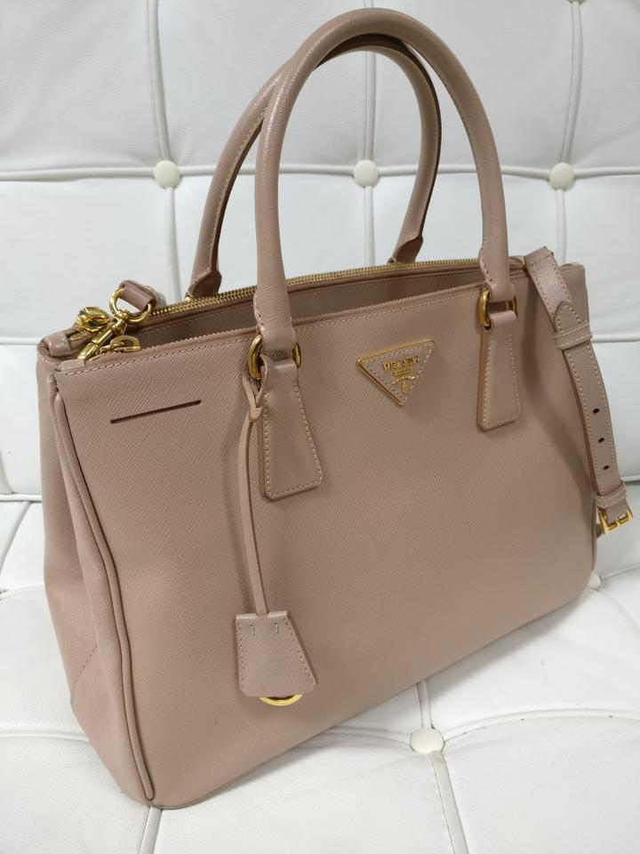 4dd7c9fa7a49 Prada Galleria Leather Saffiano Double Zip Crossbody Tote in Beige Image  11. 123456789101112