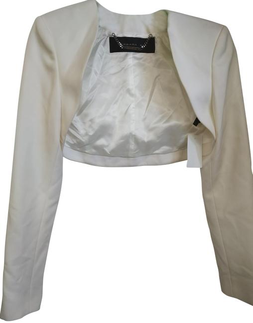 Item - White 38 Cropped Open Front Jacket Size 6 (S)