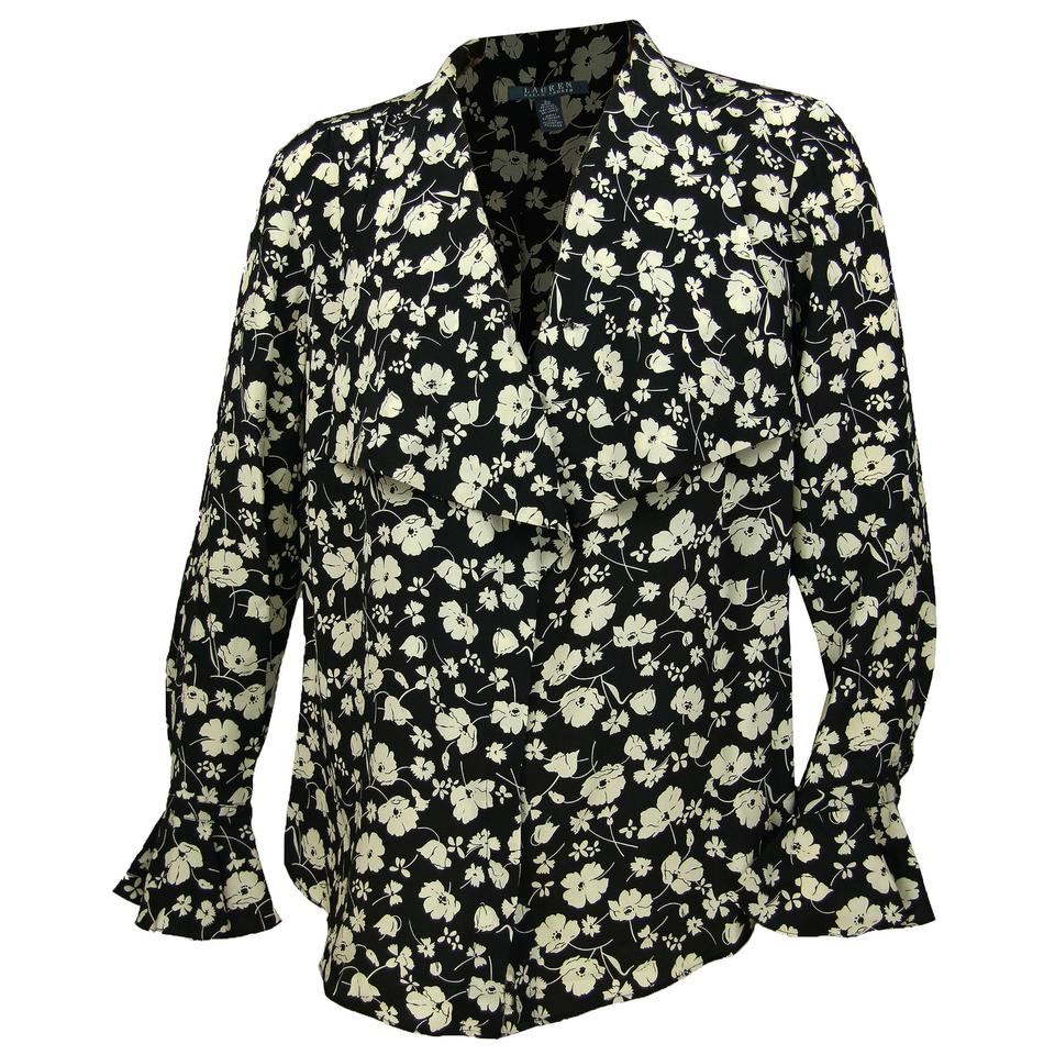 e4d863e5 Lauren Ralph Lauren Multi Color 14w Floral Print Long Sleeve Silk Blouse  Button-down Top