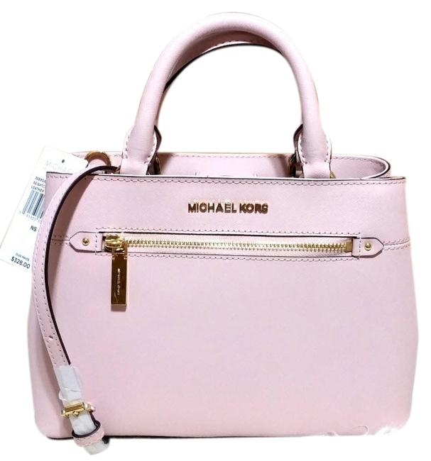 Item - Hailee Small Leather Blossom Pink Canvas Satchel