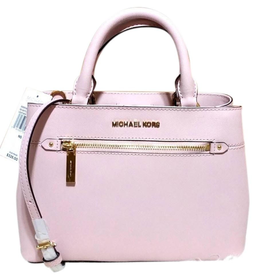 5e355f06dd8d Michael Kors Hailee Small Leather Blossom Pink Canvas Satchel - Tradesy