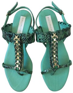 Stella McCartney Chain Vegan Snakeskin Summer Mint Sandals