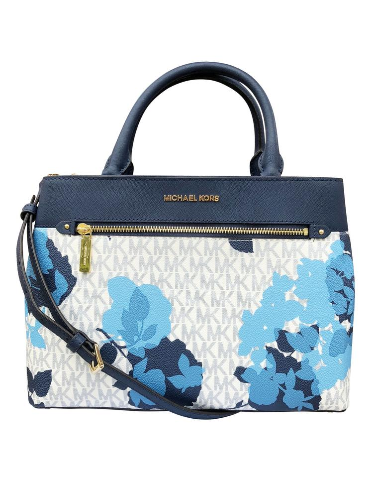 7d25fdec8c0d Michael Kors Medium Hailee Navy Floral Crossbody Multicolor Coated Canvas  Satchel