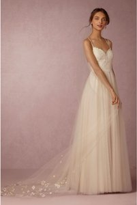 BHLDN Ivory Long Floral Painted Viel Bridal Veil