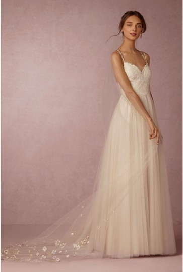 BHLDN Ivory Long Floral Painted Viel Bridal Veil Image 0