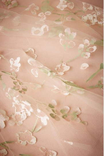 BHLDN Ivory Long Floral Painted Viel Bridal Veil Image 1