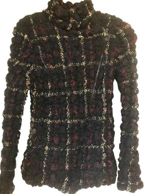 Item - Black Burgundy Gold Motorcycle Tweed Jacket Size 4 (S)