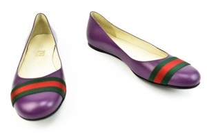 Gucci Violet Leather & Green/Red Web Stripe Flats