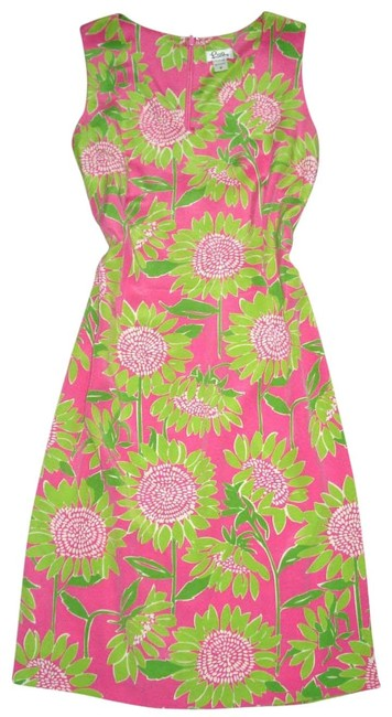 Item - Pink Green Sunflower Floral Sundress Mid-length Night Out Dress Size 10 (M)