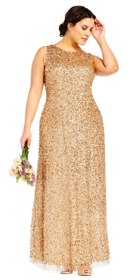 Adrianna Papell Champagne/Gold Champagne/Gold Sequin Beaded Halter ...