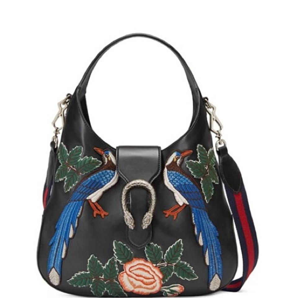 e51cee9bcca2de Gucci Dionysus With Embroidered Birds Black Leather Hobo Bag - Tradesy