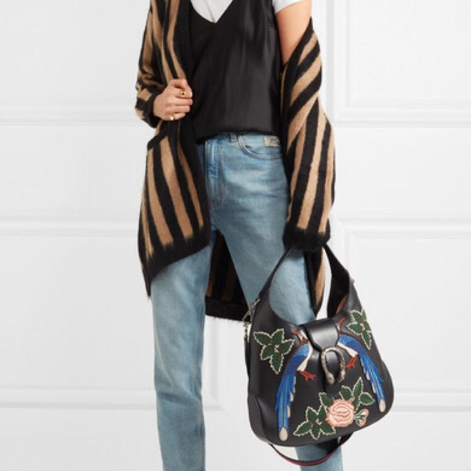 8be41435cd3 Gucci Dionysus With Embroidered Birds Black Leather Hobo Bag - Tradesy