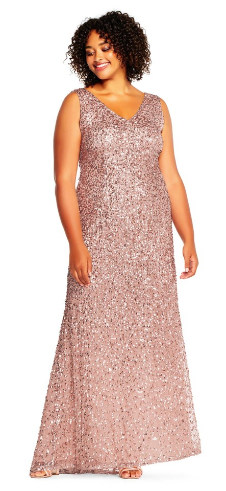 f689b30f Adrianna Papell Rose Gold Sleeveless Sequin Beaded Gown 16w Formal Dress