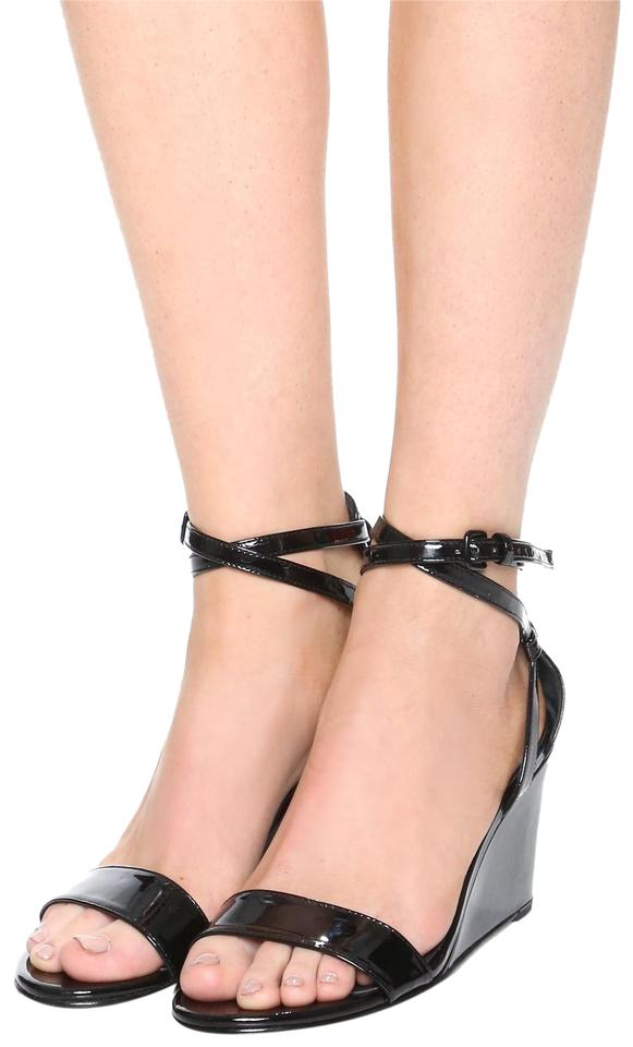 39e8baad2a8 Stuart Weitzman Black New Draft Wedge Ankle Strap Leather Sandals ...