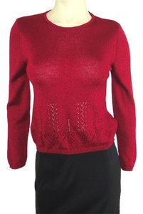 Oilily Metallic Rasberry Red Wool Blend Eyelet Knit Crewneck Sweater