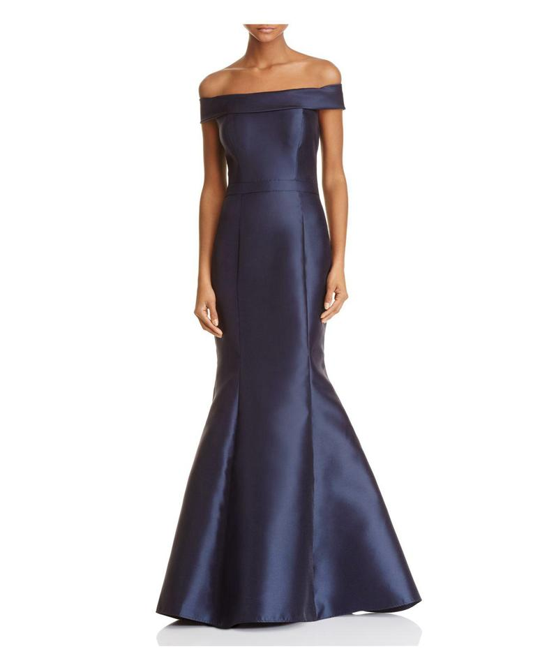 Xscape Navy Off The Shoulder Satin Mermaid Gown Long Formal Dress ...