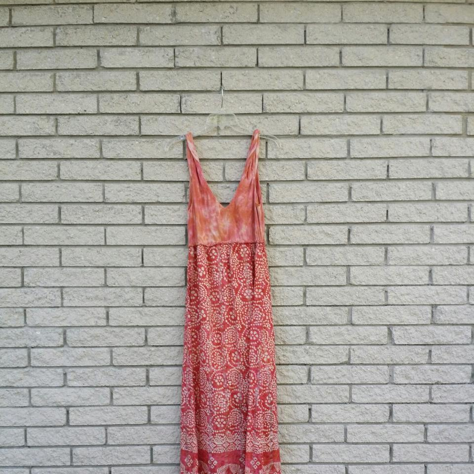 Lucky Brand Pink Cotton Tie Dye Long Casual Maxi Dress Size 8 M
