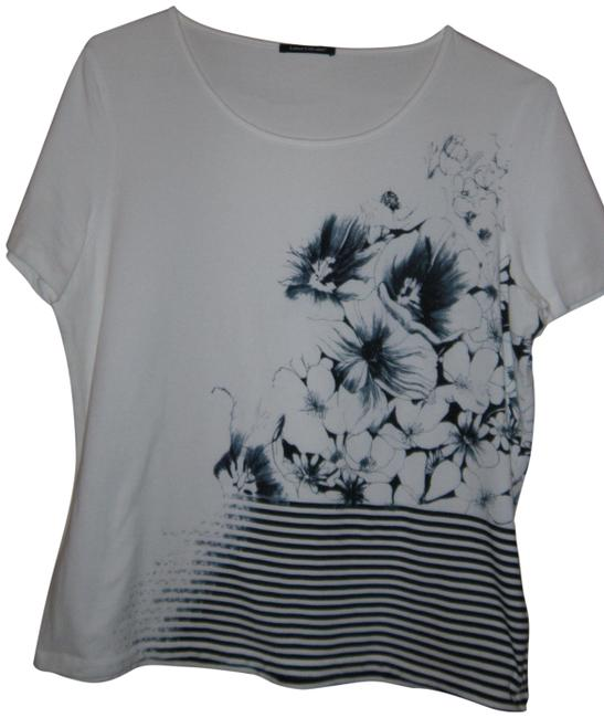 Item - Blue and White Tee Shirt Size 16 (XL, Plus 0x)
