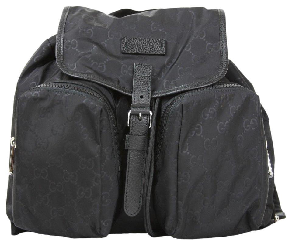 c98ac86c6c01 Gucci Medium with Two Front Pockets 510343 Black Nylon Backpack ...