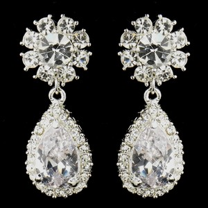 "Elegance by Carbonneau Silver Clear ""Kim Kardashian"" Inspired Crystal Earrings"