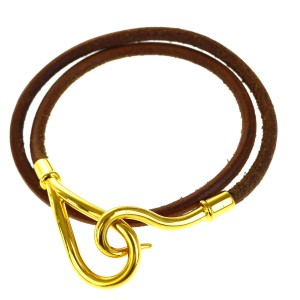 Hermès Jumbo Hook Double Wrap Bracelet Bangle Leather Gold-Tone