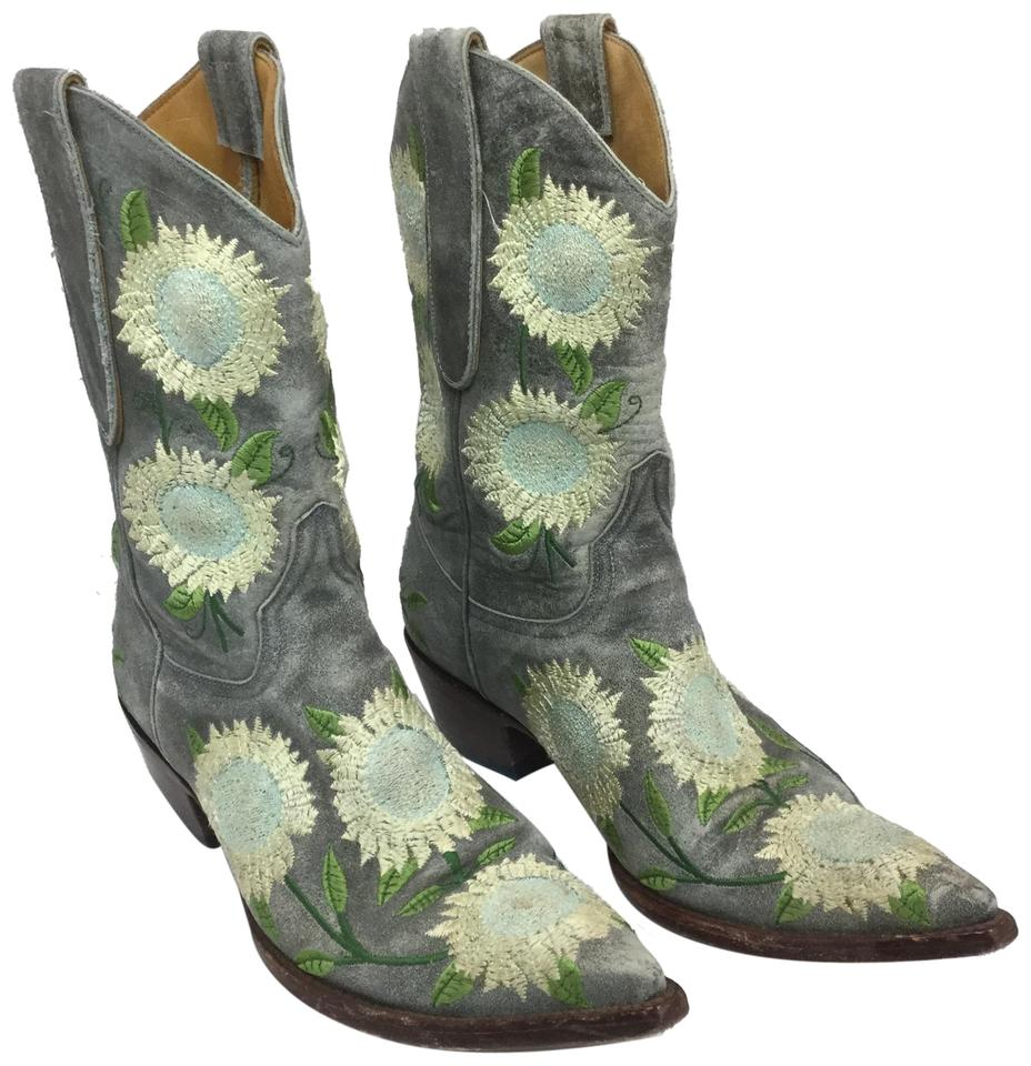 2c8538b8964 Old Gringo Gray Leather Sunflower Boots/Booties Size US 7 Regular (M, B)  67% off retail