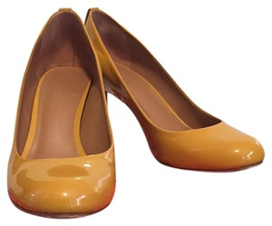 Tory Burch Patent Leather Wood Heel Golden Yellow Pumps