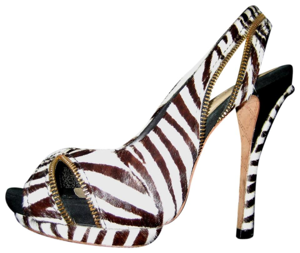 13ef5c2712c L.A.M.B. Black White Dawna Zebra Print Slingback Heels Pumps Size US 8  Regular (M, B) 88% off retail