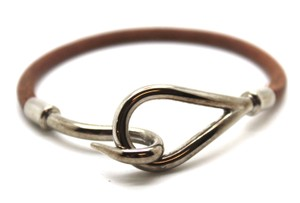 Hermès Jumbo Silver single tour hook leather Cuff Bracelet Bangle