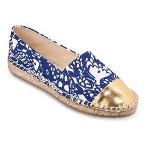 Lilly Pulitzer Blue, Gold, White, Tan Flats
