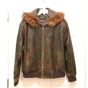 Pelle Pelle Bomber Fur Unisex Men's Brown Green Leather Jacket