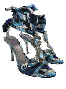 Emilio Pucci Crystals blue, white, purple print Sandals