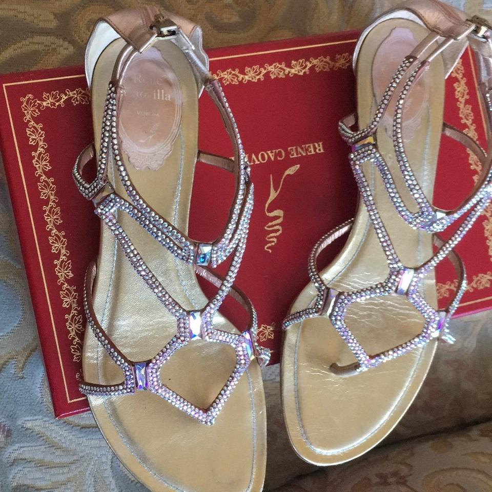 a6324e8c44e8 Rene Caovilla Pinkish Iridescent Flat Sandals Size US 8.5 Regular (M ...