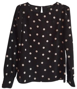 J.Crew Silk Professional Top Black and White Polka Dot