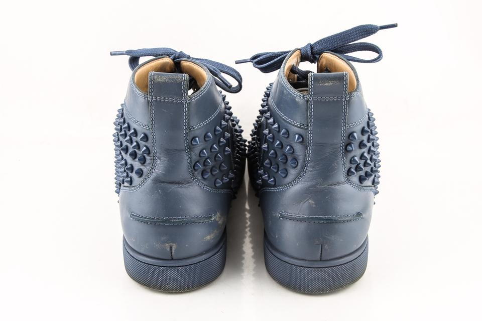 Louboutin Christian Blue dark Sneakers Flat Louis Spikes Dark Shoes SBB1C