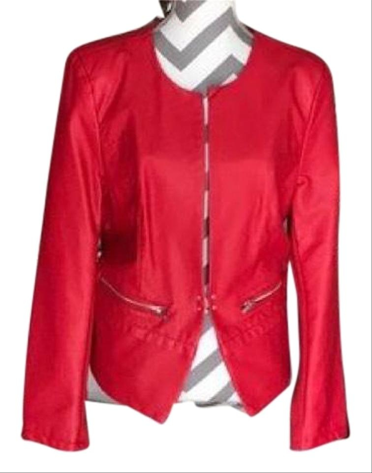 Red faux leather jacket women