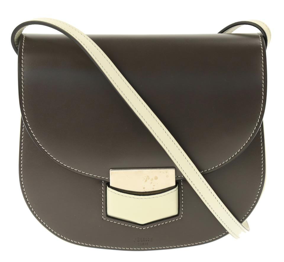 a973aa4121 Céline Trotteur Bicolor White Anthracite Grey Calfskin Leather ...