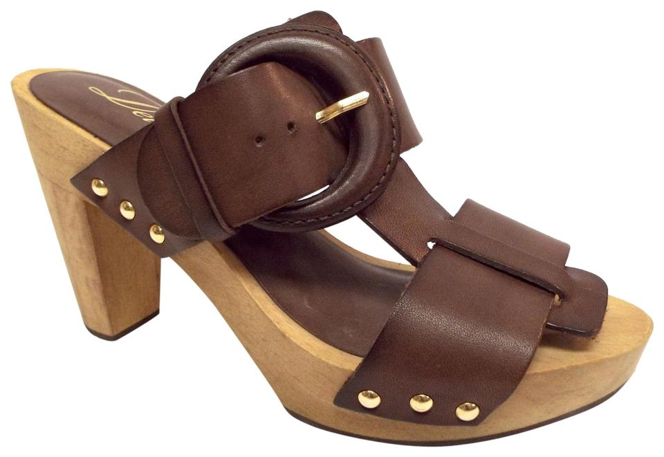 Delman Brown Leather Sandals Studded Buckle T-strap Slide Sandals Leather c5ea46